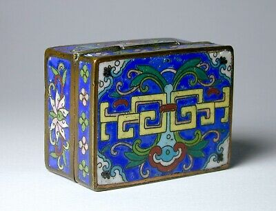 Miniature Antique Chinese Cloisonne Box + Cover 17th - 18th Century  Ming - Qing