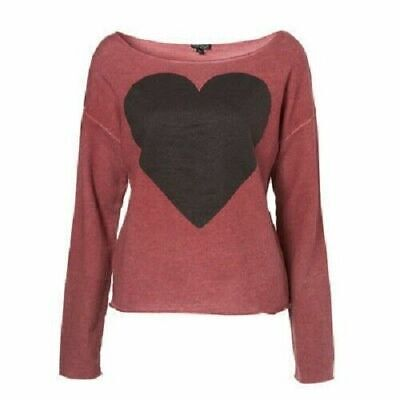 Topshop ladies girls casual pretty heart design top pullover style Size 8 NEW