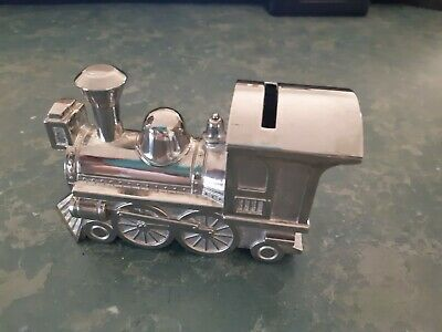 Money Box Silver Plated train Baby Shower Christening
