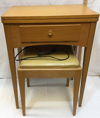 Singer Sewing Machine 66-16 Stand Table w/ Bench Foot Pedal w/ Accessory Vintage