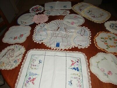 16 Vintage Doilies-Holland Duchess Set~Horse~Various Shapes Sizes +Jug Covers