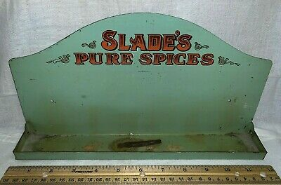 Antique Slade's Pure Spices Tin Litho Rack Shelf Sign Vintage Country Store Old