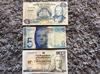 3x interesting Scottish £5 notes including AA number and Nicklaus £5