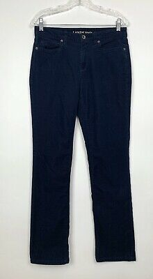 Lands End Womens Size 6 Blue Mid Rise Straight Corduroy Pants Stretch 5 Pocket