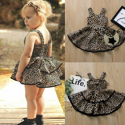Toddler Infant Kids Baby Girls Summer Strap Ruffles Leopard Print Princess Dress