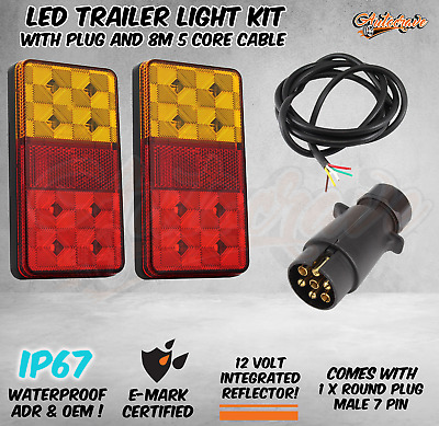 LED TRAILER TAIL LIGHT KIT PAIR ROUND PLUG 5 CORE WIRE CARAVAN BOAT Waterproof