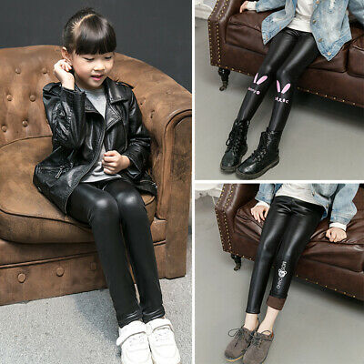 Kids Girls Toddler PU Leather Pants Slim Tight Warm Fleece-lined Winter Trousers