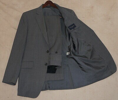 38R Banana Republic 2-Piece Suit - Men 38 Charcoal Pinstripe Wool 34x32 w/repair