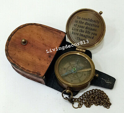 Vintage Marine Nautical Brass FLAT Compass Engraved Astrolabe Collectible Item.
