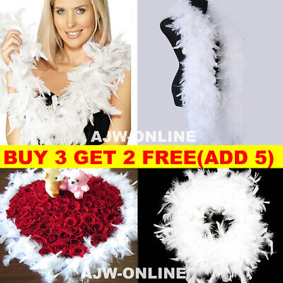 2M Feather Boa Strip Fluffy Craft Costume Fancy Dress Wedding Hen Party White