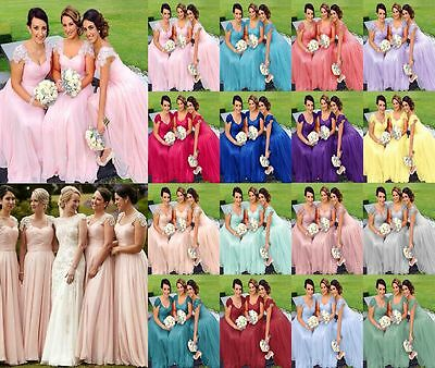 Formal NewLace Chiffon Bridesmaid Ball Gown Cocktail Evening Party Dresses 6-24
