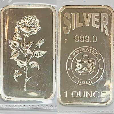 ROSE ONE OZ .999 EMIRATES GOLD SILVER BAR MIRROR SURFACE