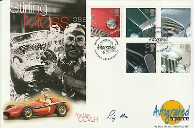 1 October 1996 Classic Sports Cars Fdc Hand Signed By Stirling Moss Shs