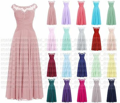 Long chiffon Bridesmaid Formal Ball Gown Party Cocktail Evening Prom Dress 6-24