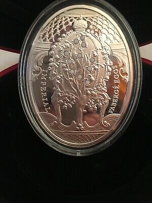 2011 Niue $2 Pansy Imperial Faberge Egg Silver Coin With Zircon COA