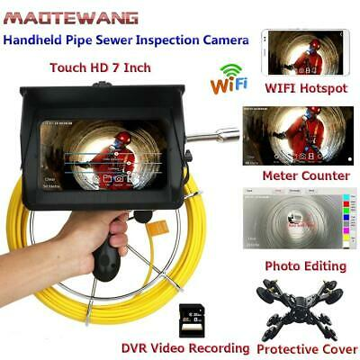 50M Handheld Industrial Pipe Sewer Inspection Video Camera Meter Counter 1080P