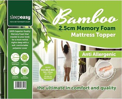 Memory Foam Mattress Topper Bamboo Orthopedic 2.5 Thick  Zipped Cover All Sizes
