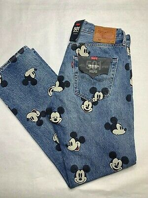 Levi's 501 Original Disney Mickey Mouse Button Fly Jeans 34x32 NWT NEW!!!!!
