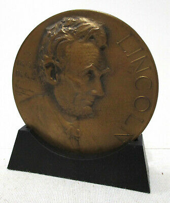 Bronze 1928 Lincoln Essay Contest Medal with stand