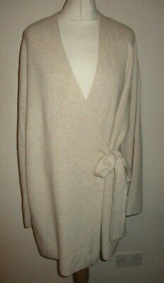 Bnwt Rosie M&S Marks & Spencer Oatmeal 100% Cashmere Ribbed Cardigan Robe 16
