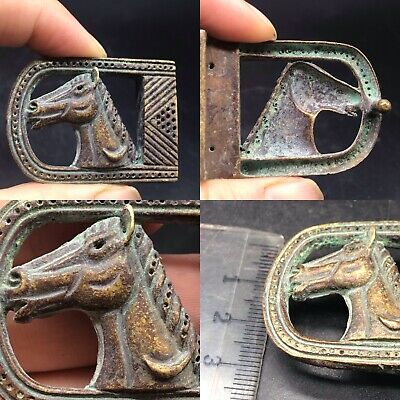 Ancient Byzantine Bronze Belt Buckle Circa 500-1000 Ad