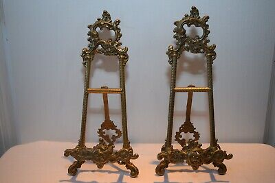 Pair of Vintage Brass Picture or Plate Stands. 10 Inch High. Good Condition.