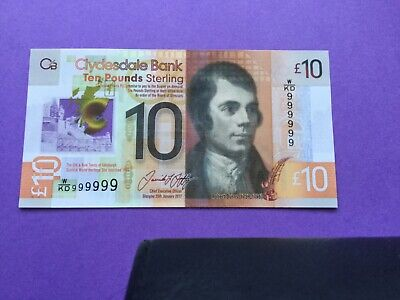 Clydesdale bank £10 Solid number ( 999999 ) uncirculated