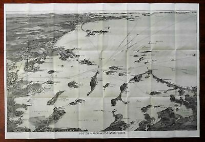 Boston Harbor Quincy Bay Revere Beach Fort Independence 1907 birds-eye view map