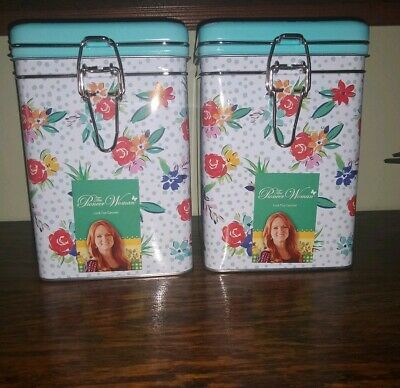 Pioneer Woman Locktop Square Tin Cookie Treat Canister NEW Set of 2