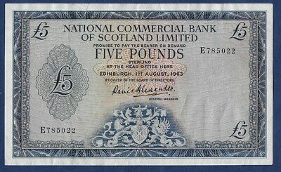 National Commercial Bank of Scotland Limited £5 Banknote 1963