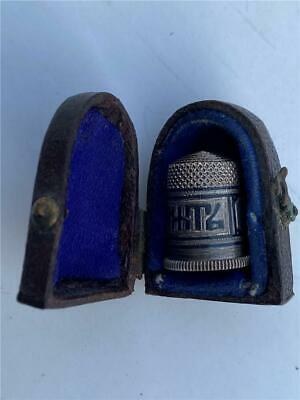 Antique Russian Silver Niello Enamel Thimble In Leather Case C1900