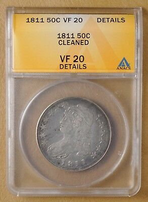 1811 Capped Bust Half Dollar ANACS VF 20 Details
