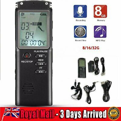 Voice Recorder Rechargeable Digital Audio Sound LCD Record Dictaphone MP3 Player