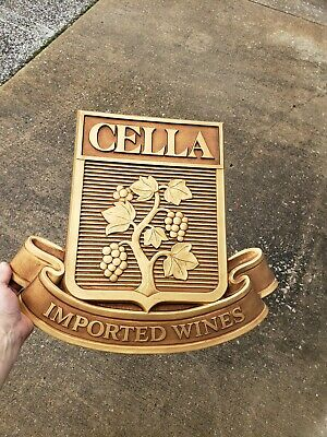 Vintage Cella Imported Wines Gold Foam Formed Sign Winery Wine