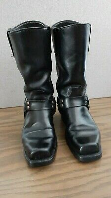 Mens Double H HH Harness Black Leather Square Toe Motorcycle Boots 7 1/2 D Biker