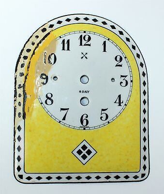 Hamburg American German Yellow, Black And White Metal Plate Clock Dial Tb535