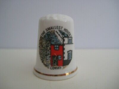 Vintage decorative porcelain thimble, The Smallest House Conwy, Jones bone china