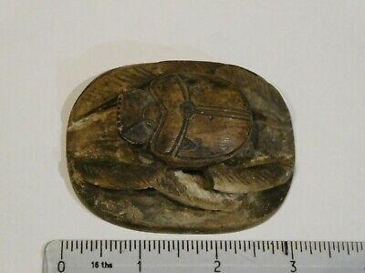 Ancient Egyptian large carved stone scarab hieroglypic seal