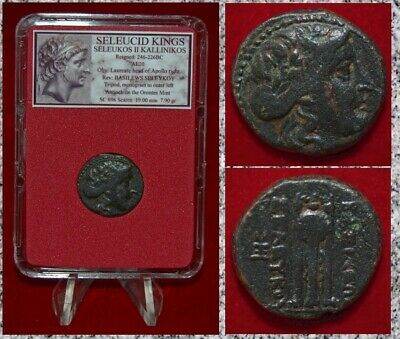 Ancient GREEK Coin Seleucid King SELEUKOS II KALLENIKOS Apollo and Tripod Bronze