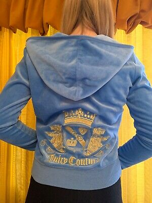 Girls juicy couture blue zip up hoodie size 12-14