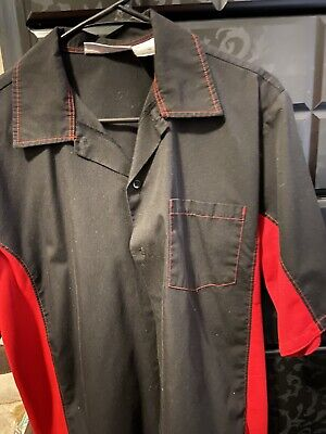 Chef works Dress shirt Black & Red. Slightly Used Size M