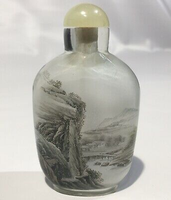 Chinese Antique Reverse Painted Glass Autumn Mountain Snuff Bottle