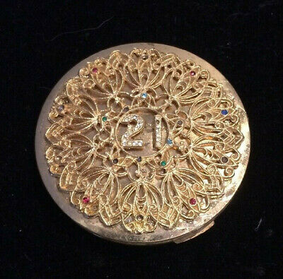 Vintage Stratton 21st Birthday  gold coloured compact