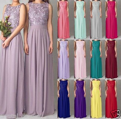 Long Lace Chiffon Evening Formal Party Ball Gown Prom Bridesmaid Dress Size 6-24