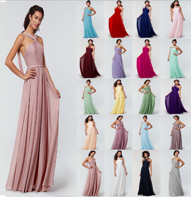 Formal Chiffon Halter Evening Party Ball Gown Prom Long Bridesmaid Dress 6-24