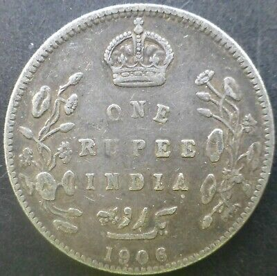 India One Rupee Edward VII 1906 Silver Coin