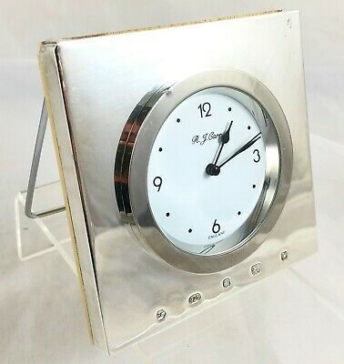 R J Carr Sterling Silver Fronted Clock 'Working'