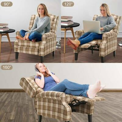 Adjustable Wing Back Recliner Chair Fabric Fireside Occasional Armchair Footrest