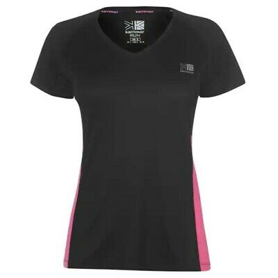 Karrimor Short Sleeve Run T Shirt Ladies Black/Pink Size UK 8 XS NH001 LL 06