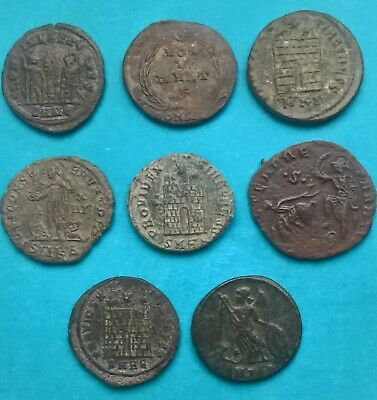 Beautiful Lot of 8 Late Roman Bronze Coins from the Constantinian era IV-V AD